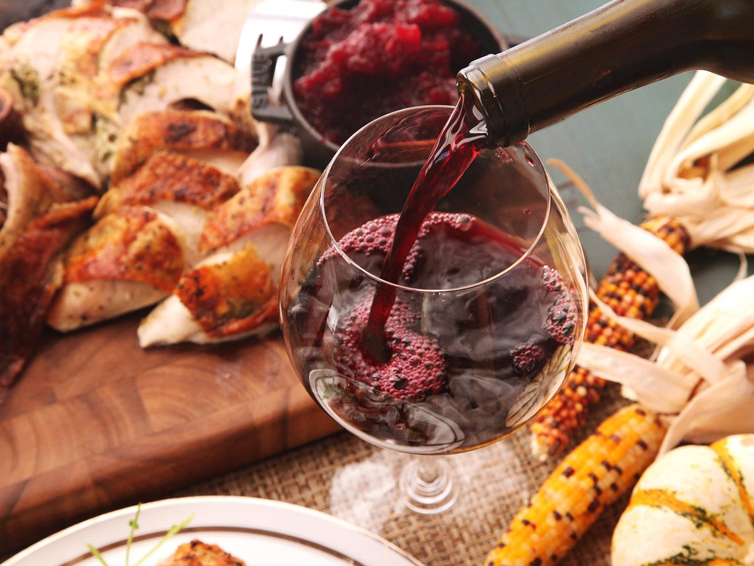 red wine on Thanksgiving with turkey and corn